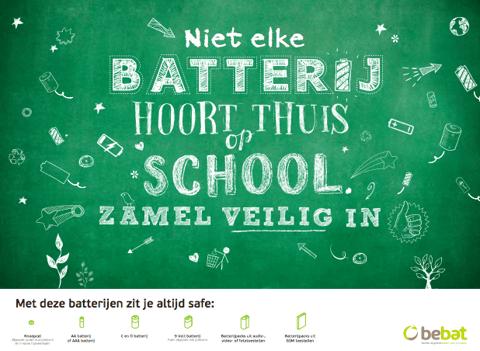 Poster - Niet elke batterij hoort thuis op een school