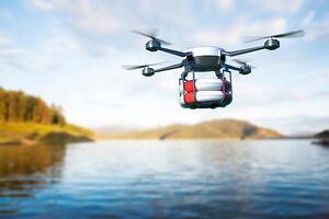 stock-photo-rescue-drone-with-lifebuoy-flying-over-the-lake-d-illustration-1137133496