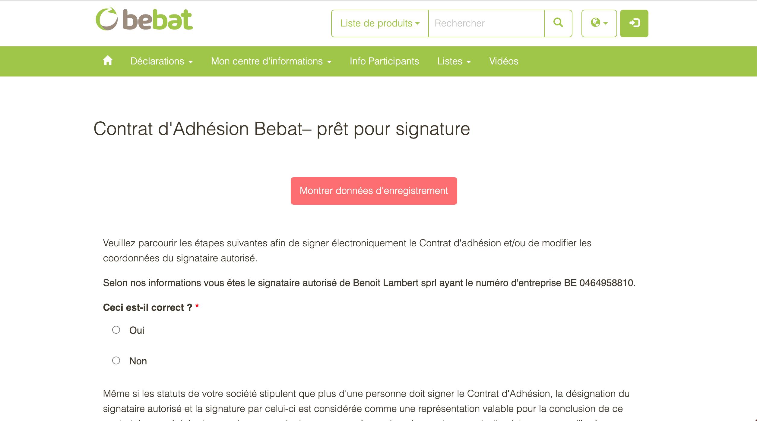 Étape 9 : Marquez votre accord pour l'adhésion en tant que signataire autorisé