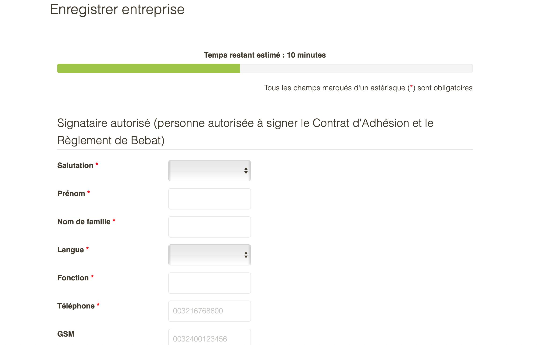 Étape 4 : Entrez les coordonnées du 'signataire autorisé'.