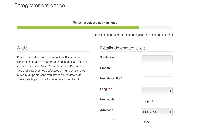 Étape 7 : Entrez les données pour l'audit.